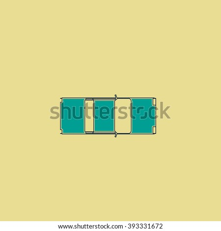 car top Flat line icon on yellow background. Vector pictogram with stroke - stock vector