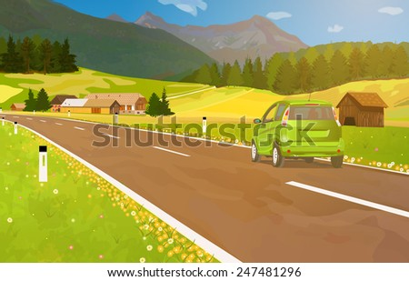 Car travel in Alps at summer season. EPS 10 format. - stock vector