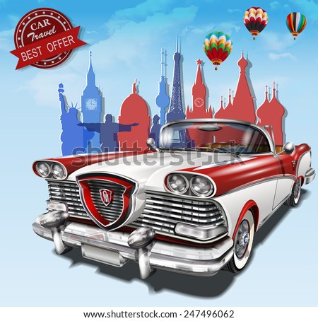 Car travel poster. - stock vector