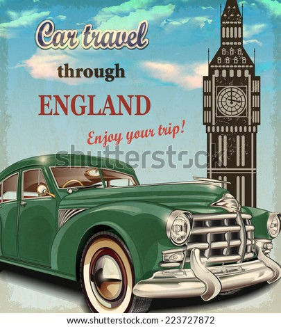 Car travel retro poster. - stock vector