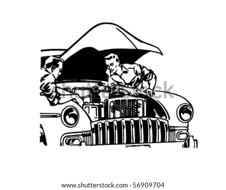 Car Tune-Up - Retro Clip Art