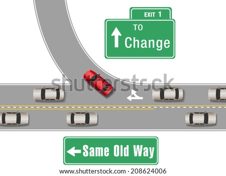 Car turning from busy traffic road exit on  a new different direction - stock vector