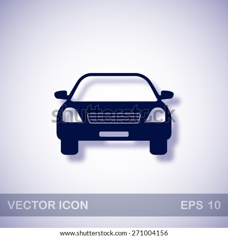 Car vector icon - dark blue illustration with blue shadow - stock vector