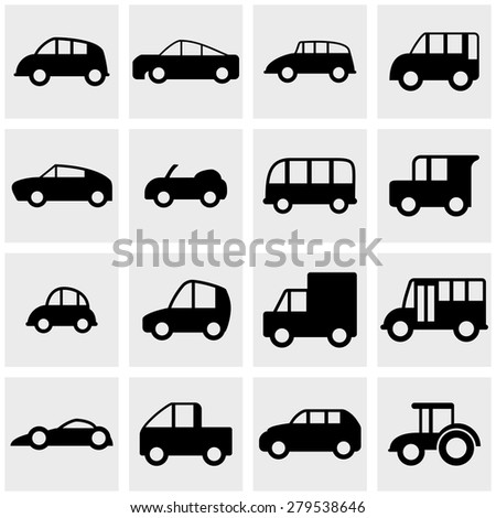 car vector icons set on gray - stock vector