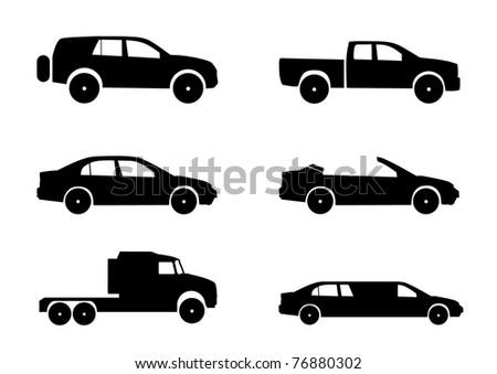Car vector silhouettes - stock vector