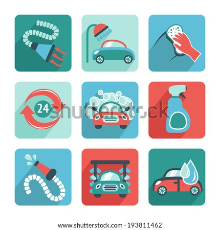 Car wash flat auto cleaner washer shower service isolated icons vector illustration - stock vector