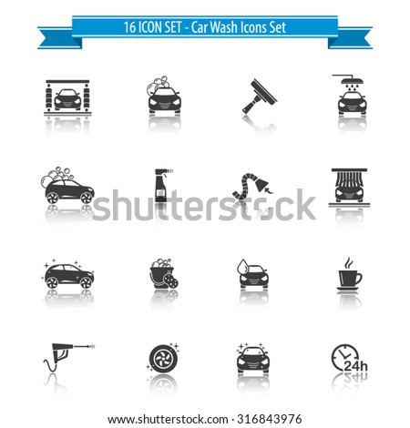 Car Wash Icon Set with reflection - 16 ICON SET - stock vector