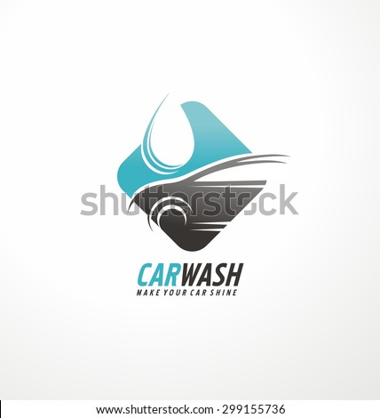 Car wash logo design layout. Corporate vector symbol concept. Unique auto cosmetic icon template. - stock vector