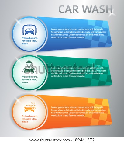 Car wash modern style background with icons design elements. Business presentation template for car-wash flyer.  - stock vector