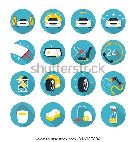 Car Wash Objects icons Set, Flat Design, Car Care, Automobile - stock vector