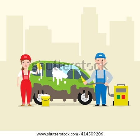 car wash service. man and woman washing car with hose and sponge - stock vector