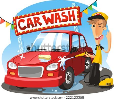 car wash sign with boy washing vehicle vector illustration cartoon
