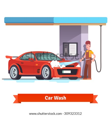 Car wash specialist in uniform washing red sports car under the roof. Spraying water from the hose. Flat style vector illustration isolated on white background. - stock vector