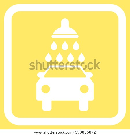 Car Wash vector icon. Style is flat symbol in a rounded square frame, white color, yellow background.