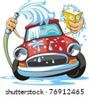 car wash with sponge and hose - stock vector