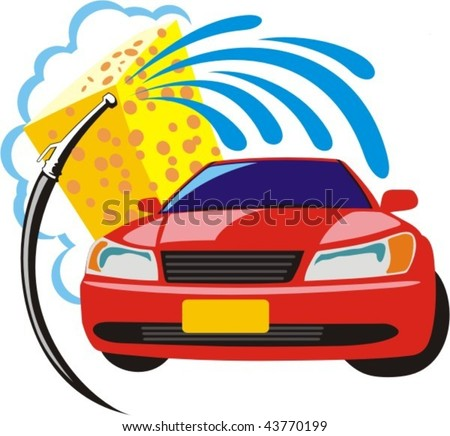 car washing sign with sponge and hose - stock vector