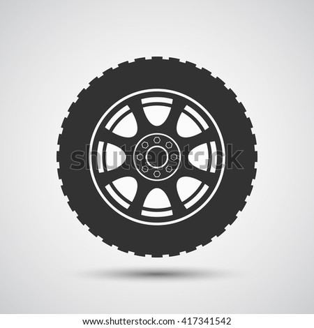 Car wheel icon - Vector - stock vector