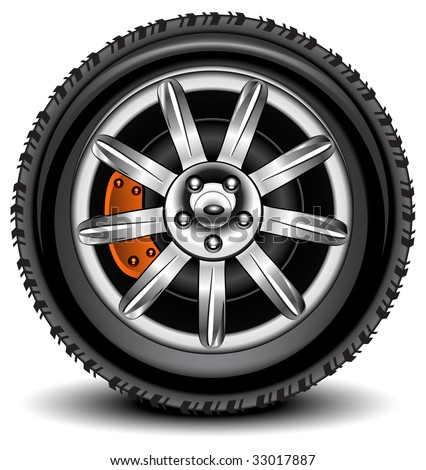 Car wheel in details on white background with shadow, vector, illustration - stock vector