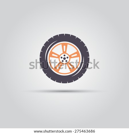 car wheel isolated flat vector symbol - stock vector