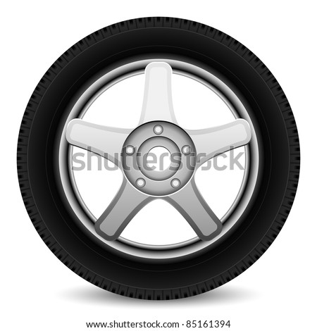 Car wheel on a white background, vector - stock vector
