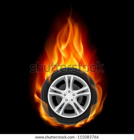 Car Wheel on Fire. Illustration on black - stock vector