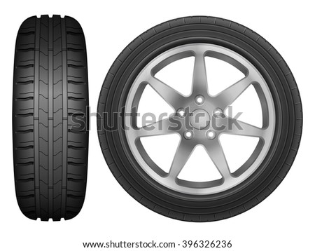 Car wheel rim tire on a white background. - stock vector