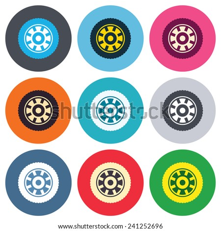 Car wheel sign icon. Circular transport component symbol. Colored round buttons. Flat design circle icons set. Vector - stock vector