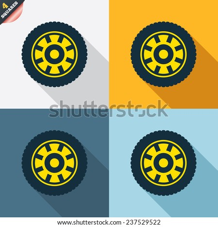 Car wheel sign icon. Circular transport component symbol. Four squares. Colored Flat design buttons. Vector - stock vector