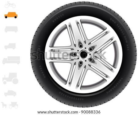 Car wheel (24). The series of the detailed wheels of the different vehicles: passenger cars, light trucks, vans. - stock vector