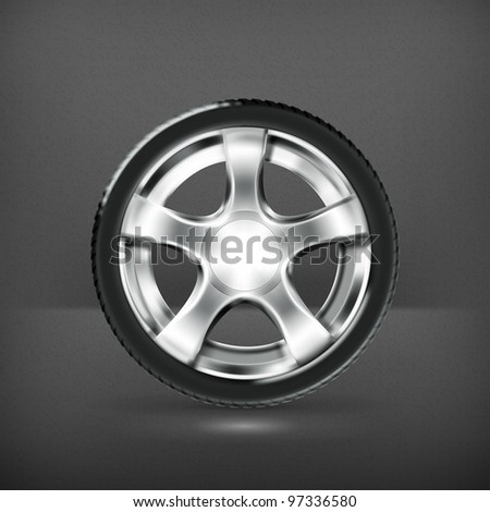 Car Wheel, vector - stock vector
