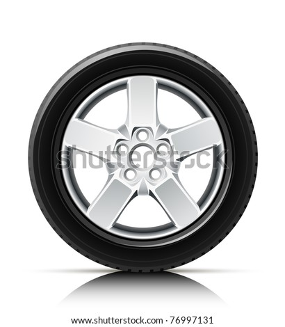 car wheel vector illustration isolated on white background - stock vector