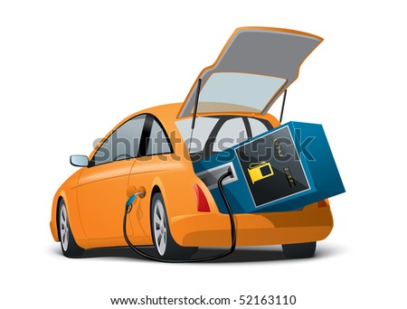 Car with a fuel station on board - stock vector
