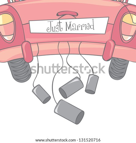 car with cans  as symbol of just married vector illustration - stock vector