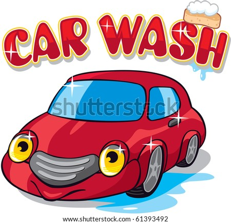 Car with Car wash Sign - stock vector