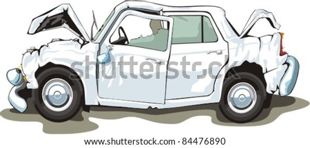 car with crashed front and back - stock vector