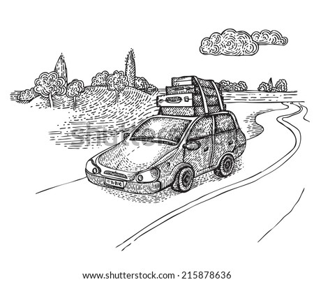 Car with luggage on the country road - stock vector