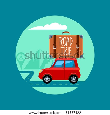 Car With Luggage. Road Trip. Vector Illustration
