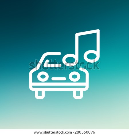 Car with music icon thin line for web and mobile, modern minimalistic flat design. Vector white icon on gradient mesh background. - stock vector