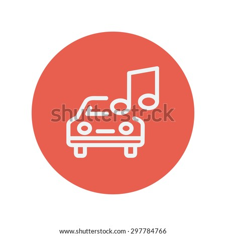 Car with music thin line icon for web and mobile minimalistic flat design. Vector white icon inside the red circle - stock vector