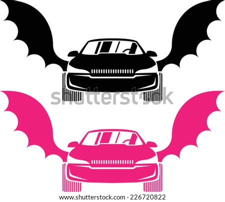 Car with wings - stock vector