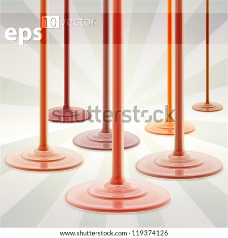 Caramel and melt chocolate cream flow drops, eps10 vector background - stock vector