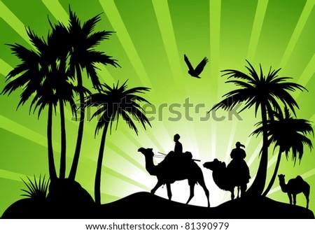 caravan of camels in a black oasis - stock vector
