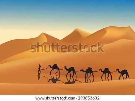 Caravan of camels in the desert  - stock vector