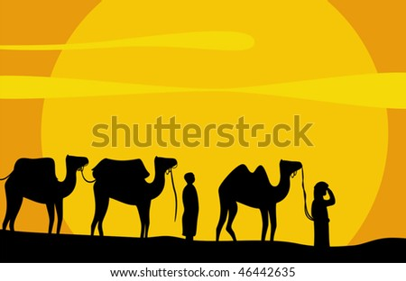 Caravan of camels move on scorching sand of Desert. Vector background - stock vector