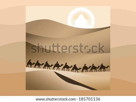 Caravan of camels walking in the desert on a background sun and mirage. - stock vector