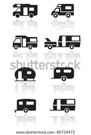 Caravan or camper van symbol vector illustration set. - stock vector