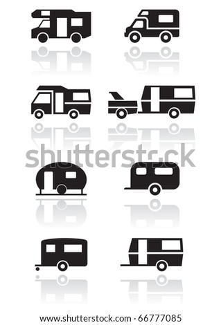 Caravan or camper van symbol vector illustration set. All vector objects are isolated and grouped. Colors and transparent background color are easy to adjust. - stock vector
