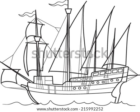 Caravel - stock vector