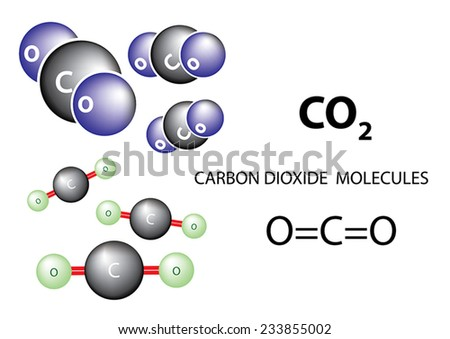 Carbon dioxide molecule chemical structure, vector - stock vector