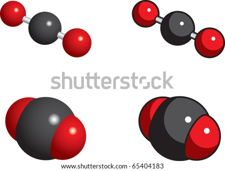 Carbon dioxide molecules (greenhouse gas) - stock vector